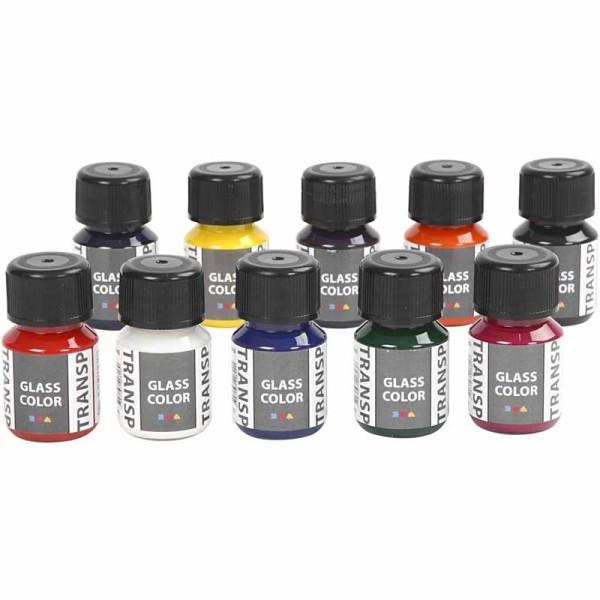 Lot de peinture pour verre et porcelaine Glass Color - 10 x 30 ml - Photo n°2