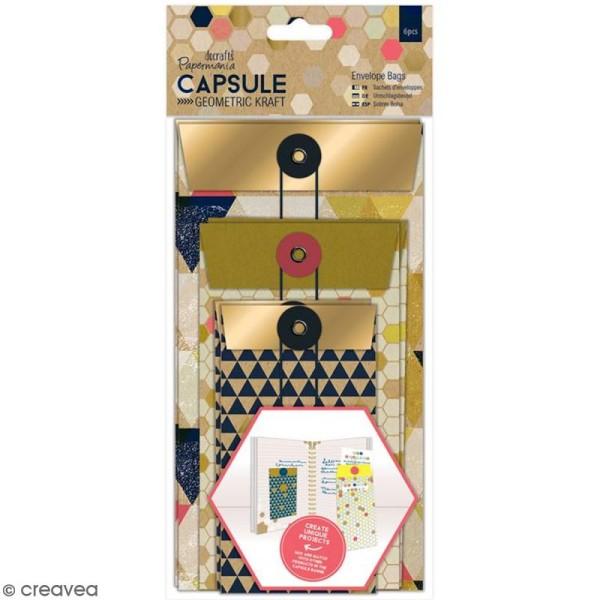 Enveloppe cadeau Geometric Kraft avec ficelle - 6 pcs - Photo n°1
