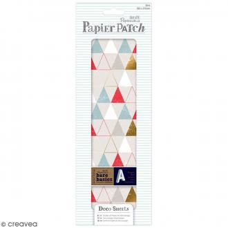 Papier décoratif Papier Patch - Motifs Géométrique - 3 feuilles de 26 x 37,5 cm