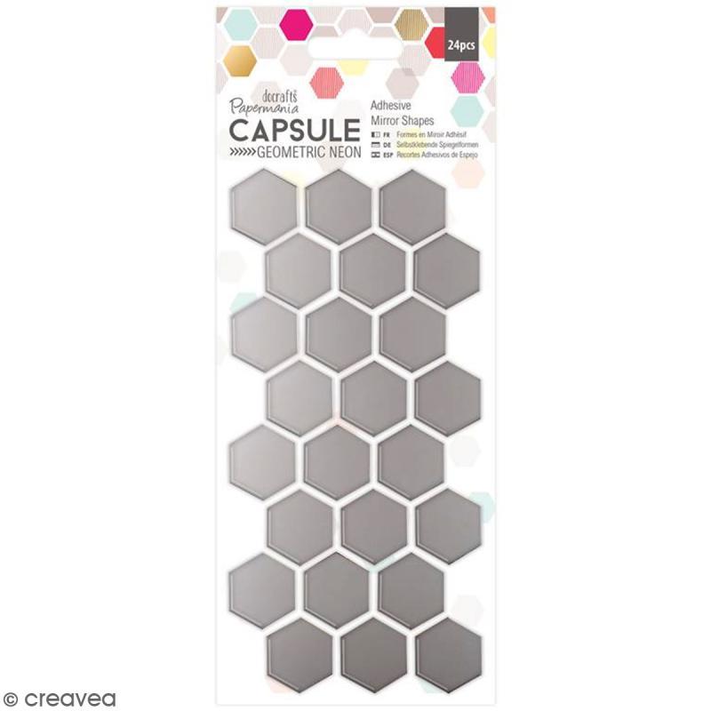 formes adh sives miroir nid d 39 abeille 24 pcs miroir adh sif fantaisie creavea. Black Bedroom Furniture Sets. Home Design Ideas