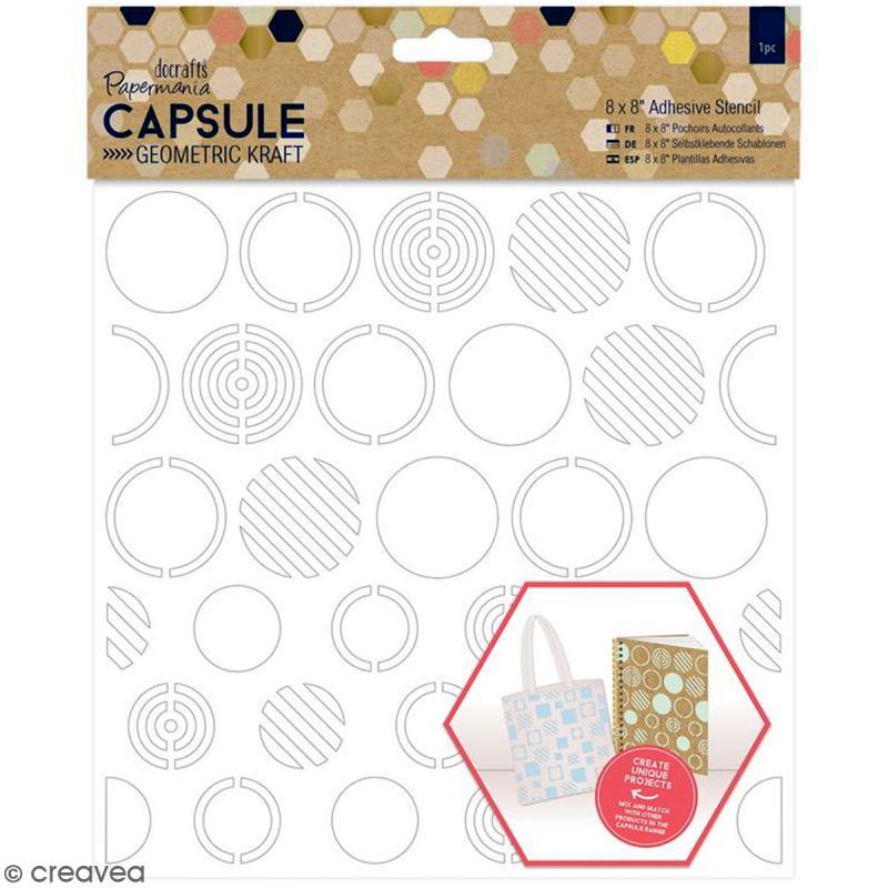 Pochoir adhésif Geometric Kraft - Cercles - 20 x 20 cm - Photo n°1