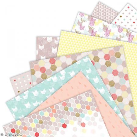 Papier scrapbooking Papermania - Geometric Neon - 36 feuilles 15,2 x 15,2 cm - Photo n°3