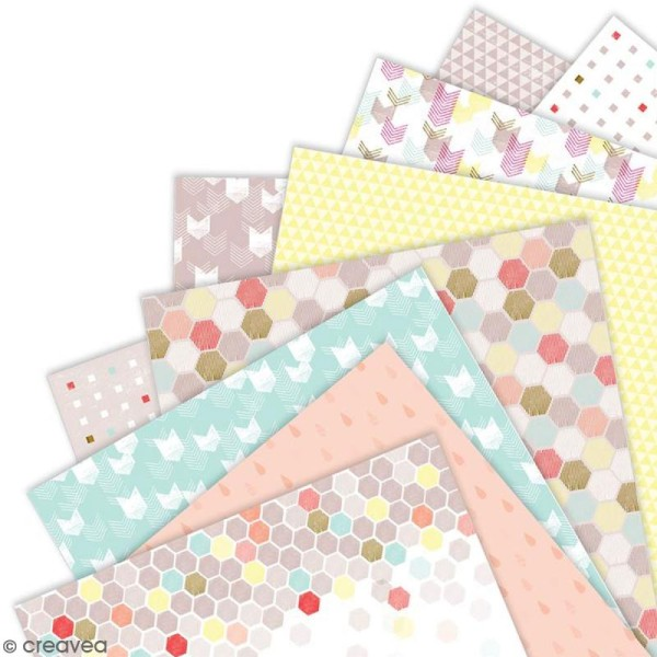 Papier scrapbooking Papermania - Geometric Neon - 36 feuilles 15,2 x 15,2 cm - Photo n°3