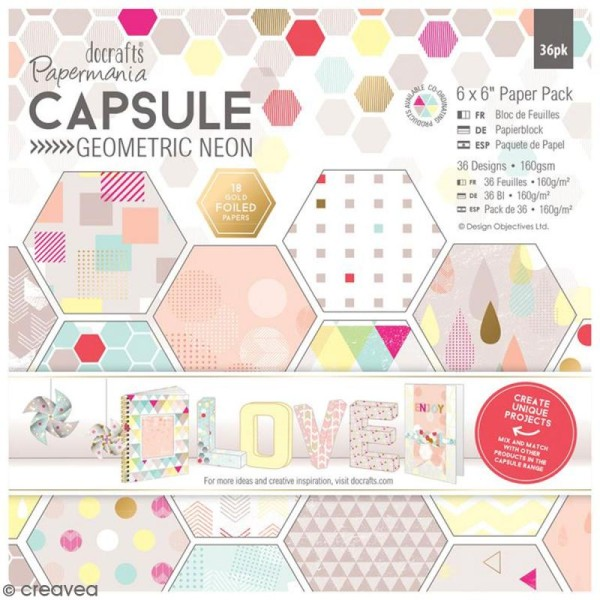 Papier scrapbooking Papermania - Geometric Neon - 36 feuilles 15,2 x 15,2 cm - Photo n°1