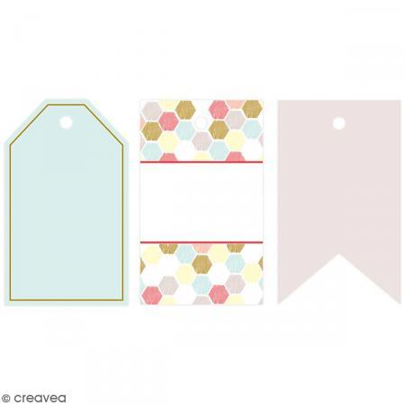 Kit étiquettes et tampons Geometric Neon - 16 pcs - Photo n°4