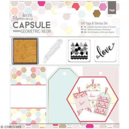 Kit étiquettes et tampons Geometric Neon - 16 pcs - Photo n°1