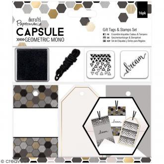 Kit étiquettes et tampons Geometric Mono - 16 pcs
