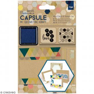 Kit mini cartes et tampons Geometric Kraft - 27 pcs