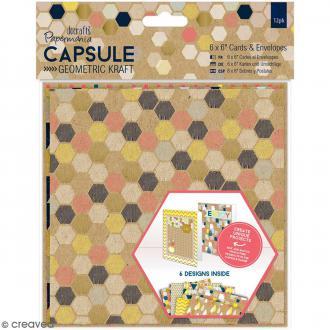 Kit cartes et enveloppes Geometric Kraft - 12 jeux