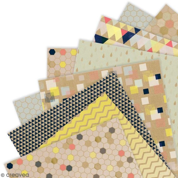 Papier scrapbooking Papermania - Geometric Kraft - 36 feuilles 15,2 x 15,2 cm - Photo n°2