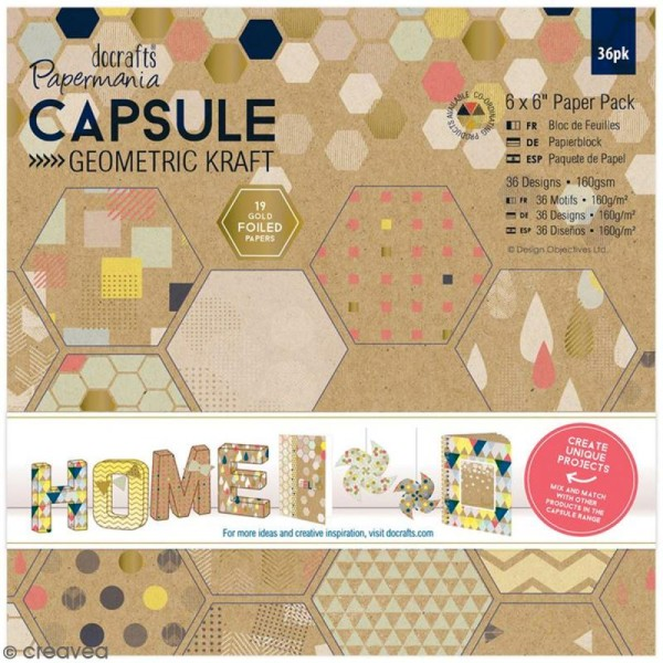 Papier scrapbooking Papermania - Geometric Kraft - 36 feuilles 15,2 x 15,2 cm - Photo n°1