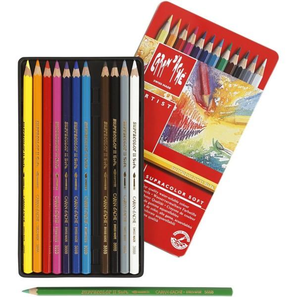 Crayons aquarellables Supracolor Caran d'Ache - Boîte de 12 crayons - Photo n°1