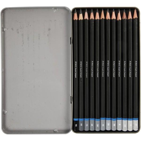 Crayon De Dessin, L: 19 Cm,  2H-9B , 12Pièces - Photo n°3