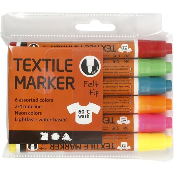 Feutres Textile, Trait: 2-4 Mm, Couleurs Néons, 6Pièces - Photo n°2
