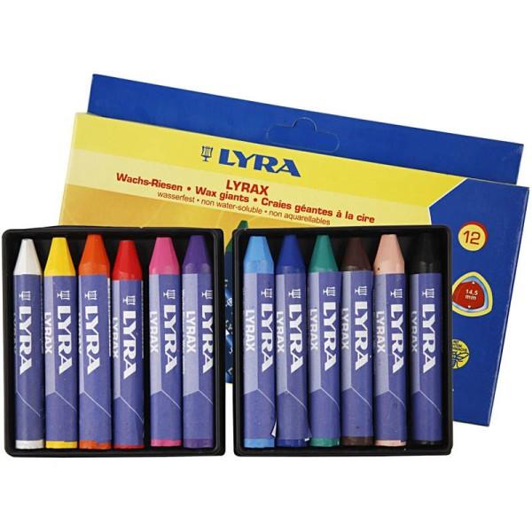 Crayon De Cire Lyra, Ép. 15 Mm, L: 9 Cm, 12Pièces - Photo n°1