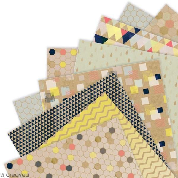 Papier scrapbooking Papermania - Geometric Kraft - 36 feuilles 30,5 x 30,5 cm - Photo n°2