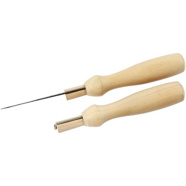 Porte-aiguille à feutrer en bois avec 5 aiguilles - Photo n°3