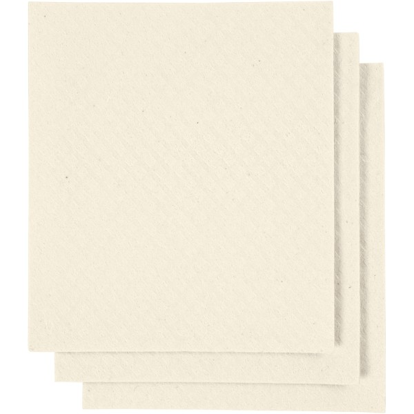Chiffon éponge 17 x 19,5 cm - Blanc cassé - 3 pcs - Photo n°1