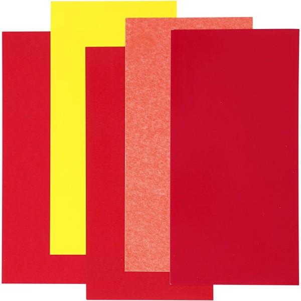 Color Dekor, Feuille 10X20 Cm, Harmonie Rouge/Orange/Jaune, 5Flles. Ass. - Photo n°1