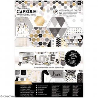 Kit complet scrapbooking Geometric Mono - Papiers et die-cuts - 48 pcs