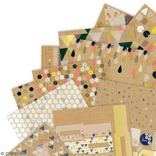 Kit complet scrapbooking Geometric Kraft - Papiers et die-cuts - 48 pcs - Photo n°2