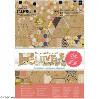 Kit complet scrapbooking Geometric Kraft - Papiers et die-cuts - 48 pcs