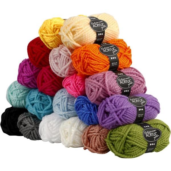 Assortiment de laine acrylique 50 g - Fantasia Maxi - 20 pcs - Photo n°1