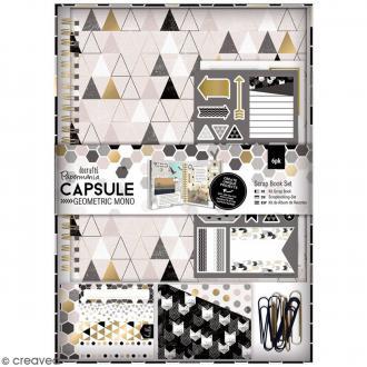 Kit scrapbooking Geometric Mono - Carnet et embellissements