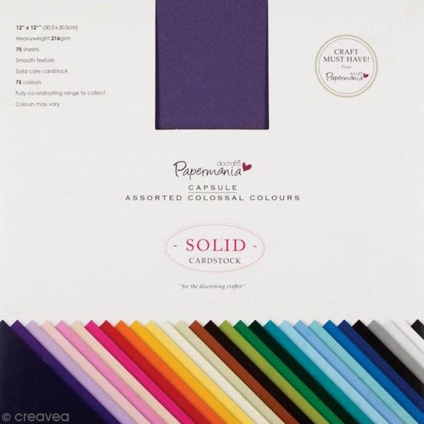 Papier cartonné premium 30,5 x 30,5 cm - Assortiment de couleurs - 75 pcs - Photo n°1