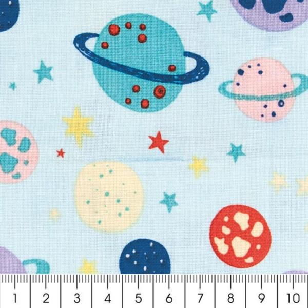 Tissu Rico Design - Planètes - Bleu menthe - Par 10 cm (sur mesure) - Photo n°2