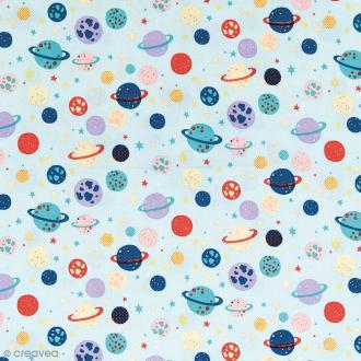 Tissu Rico Design - Planètes - Bleu menthe - Par 10 cm (sur mesure)