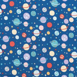Tissu Rico Design - Planètes - Bleu foncé - Par 10 cm (sur mesure)