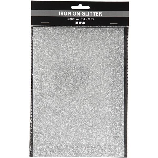 Papier transfert textile pailleté - 14,8 x 21 cm - Argent - 1 pce - Photo n°2