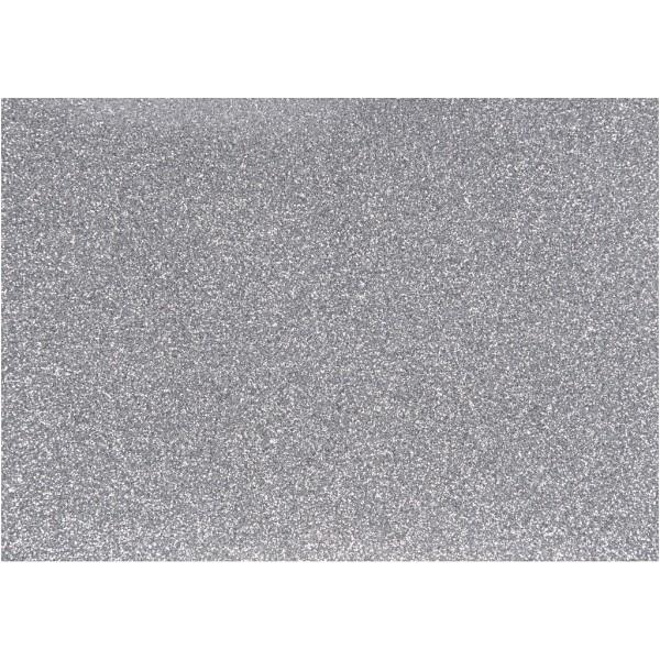 Papier transfert textile pailleté - 14,8 x 21 cm - Argent - 1 pce - Photo n°1
