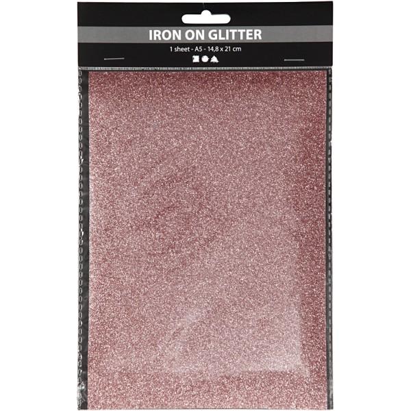 Papier transfert textile pailleté - 14,8 x 21 cm - Rosé - 1 pce - Photo n°2