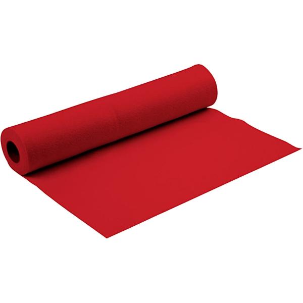 Feutrine Synthétique, L: 90 Cm, Ép. 1,5 Mm, Rouge, 5M - Photo n°1