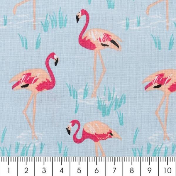 Tissu Rico Design - Flamants roses - Fond bleu - Par 10 cm (sur mesure) - Photo n°2