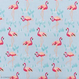 Tissu Rico Design - Flamants roses - Fond bleu - Par 10 cm (sur mesure)