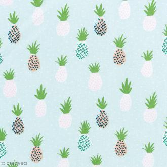Tissu Rico Design - Ananas - Bleu et vert menthe - Par 10 cm (sur mesure)