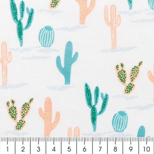 Tissu Rico Design - Cactus - Bleu et rose saumon - Par 10 cm (sur mesure) - Photo n°2
