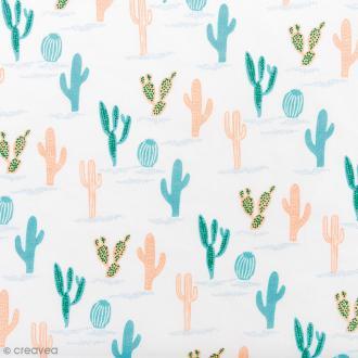 Tissu Rico Design - Cactus - Bleu et rose saumon - Par 10 cm (sur mesure)