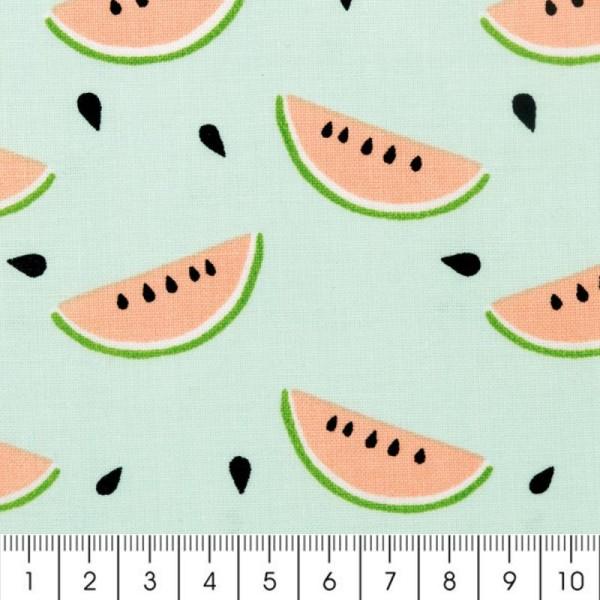 Tissu Rico Design - Pastèques - Fond bleu menthe - Par 10 cm (sur mesure) - Photo n°2