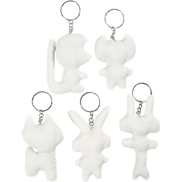 Porte-clés figurine en tissu à décorer - 5 pcs - Photo n°1