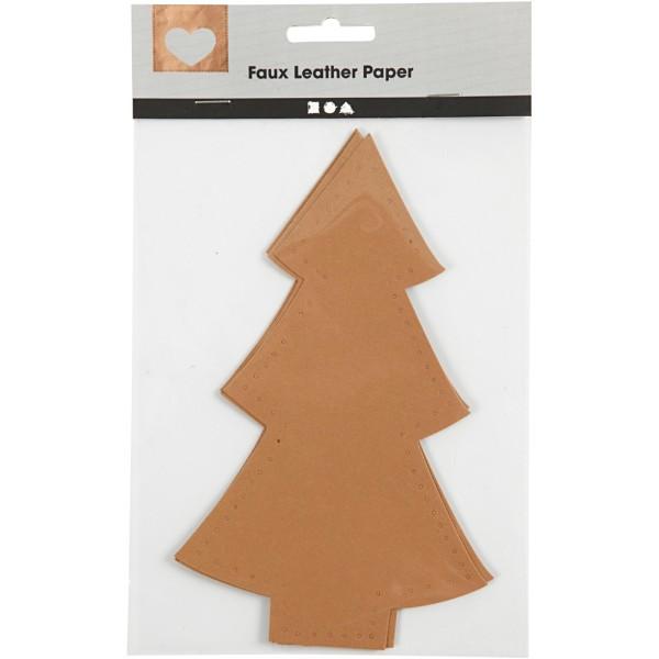 Sapin de Noël en papier imitation cuir - 11 x 18 cm - 4 pcs - Photo n°2