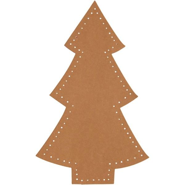 Sapin de Noël en papier imitation cuir - 11 x 18 cm - 4 pcs - Photo n°1