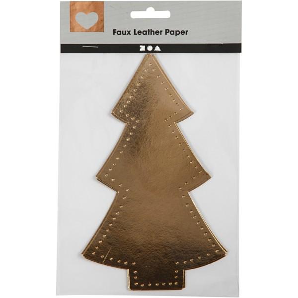Sapin de Noël en papier imitation cuir doré - 11 x 18 cm - 4 pcs - Photo n°2