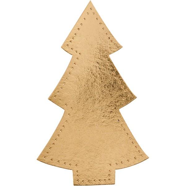 Sapin de Noël en papier imitation cuir doré - 11 x 18 cm - 4 pcs - Photo n°1