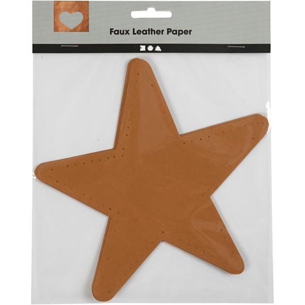 Étoile en papier imitation cuir - 17 x 17 cm - 4 pcs - Photo n°2