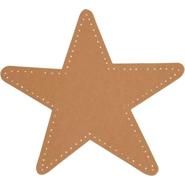 Étoile en papier imitation cuir - 17 x 17 cm - 4 pcs - Photo n°1