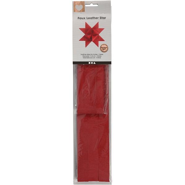 Bandes de papier pour étoiles - imitation cuir rouge - Largeur 15 et 25 mm - 24 pcs - Photo n°2